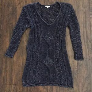 Gap Blue 3/4 sleeve sweater chunky knit S Tall EUC